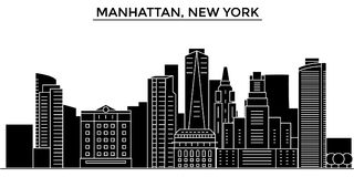Usa, Manhattan, New York architecture vector city skyline, travel cityscape with landmarks, buildings, isolated sights. Usa, Manhattan, New York architecture Royalty Free Stock Photo
