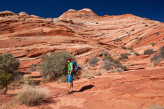 USA - Mann im entspannenden Park Kojote Buttes - die Welle Stockfotos