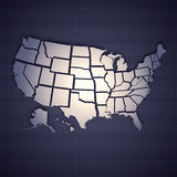 USA map. Isolated on metal background. High resolution image Royalty Free Stock Image