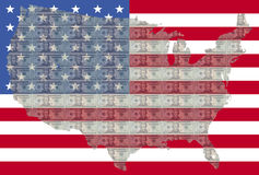 USA map with 20 dollar bills. Map of USA against twenty dollar bills and American flag vector illustration