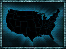 USA map. In the blue style Royalty Free Stock Photography