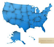 USA map. United States of America with all 50 states - blue color - isolated on white - Vector stock illustration