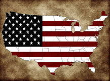 USA map. With the flag and the states Stock Photography