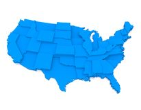 USA map. 3d illustrated map of North American with different height states, white background Stock Photo