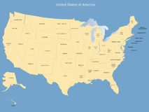 USA map. With names of states Royalty Free Stock Photo