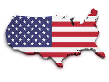 USA Map 3D Shape. Shape 3d of United States Of America map with flag isolated on white background Royalty Free Stock Images