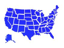 Usa map. Outlines US on a white background Stock Photography