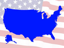 Usa map. Against a flag Royalty Free Stock Photo