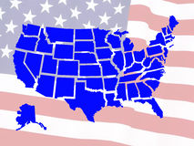 Usa map. Against a flag Stock Photo