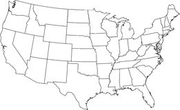 Usa map. Contour, outline. states Royalty Free Stock Photo