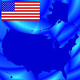 USA map on abstract background. Silhouette map and flag of the USA on the abstract background. All objects are independent and fully editable. Source of map Stock Photography