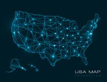 USA map abstract technology background - vector Royalty Free Stock Photography
