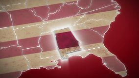 USA map, Alabama pull out, all states available. Red background. Stock footage stock video footage
