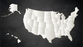 USA Map With Alaska And Hawaii Map Orange Separate Individualr Stock ...