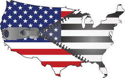 Usa map. American map with flag inside zipped Stock Photography