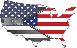 Usa map. American map with flag inside zipped Stock Photo