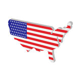 USA map with american flag texture cartoon icon Stock Photography