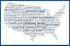 USA map american presidents. The USA map made with the names of all the american presidents. The biggest names are the most beloved presidents, according to the royalty free illustration