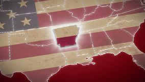 USA map, Arkansas pull out, all states available. Red background. Stock footage stock video footage