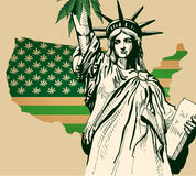 Usa map as green flag with cannabis leaf. Statue of Librety vector image. Stock Photos