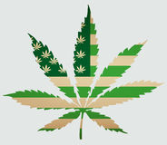 Usa map as green flag with cannabis leaf. Vector image. Usa map as green flag with cannabis leaf Royalty Free Stock Images