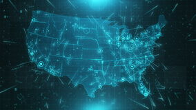 USA Map Background Cities Connections 4K. This project includes a map of the USA with the animated background. There are also animated glowing round connections stock video