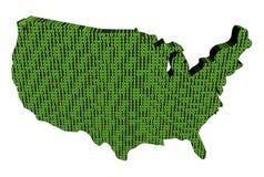 USA map with binary code Stock Photo