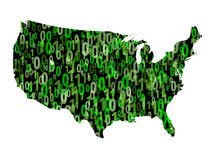 USA map with binary code Royalty Free Stock Photography