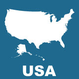 USA map on blue background. Flat vector Royalty Free Stock Images