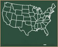 USA Map on Chalk Board. United States Map on a Chalkboard royalty free illustration