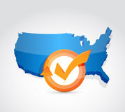 USA map check mark cycle illustration design. Over white Stock Photo