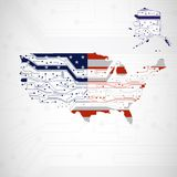 USA Map, circuit board background Stock Images