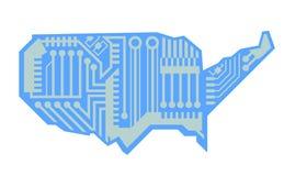 USA Map Circuit Board Design Stock Photography
