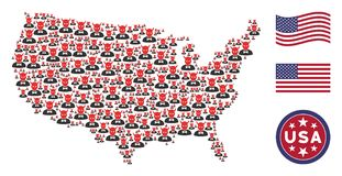 USA Map Collage of Devil. Devil icons are organized into USA map stylization. Vector collage of USA territorial map is designed with devil elements. Designed for stock illustration
