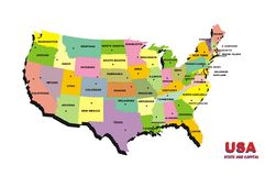 Usa Map Color Royalty Free Stock Photos
