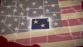 USA map, Colorado pull out, all states available. Red background. Stock footage stock video
