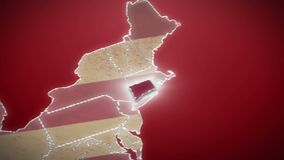 USA map, Connecticut pull out, all states available. Red background. Stock footage stock video