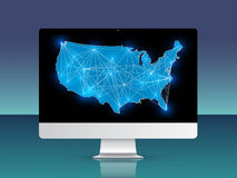 USA map with connections on the PC screen Royalty Free Stock Photography