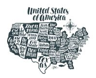USA map country, United States of America. Lettering, typographic design. Vector illustration isolated on white background Royalty Free Stock Photos