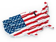 USA map covered with American flag. 3D illustration.  Stock Images
