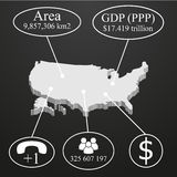 USA Map in 3D. Elements of infographics on economic data vector illustration