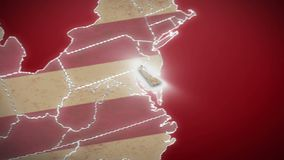 USA map, Delaware pull out, all states available. Red background. Stock footage stock footage