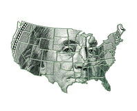 USA map on a dollar background. With Franklin image Royalty Free Stock Photo