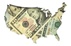 USA map with dollar banknotes background Stock Photo