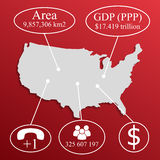 USA Map. Elements of infographics on economic data Stock Images