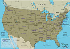USA map with federal states. All states are selectable. Vector Royalty Free Stock Image