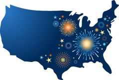 USA map with fireworks. USA map outline with fireworks Stock Photography
