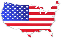 Usa map with flag. Illustrated usa map with flag Royalty Free Stock Photography