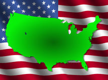 USA map on flag Royalty Free Stock Image