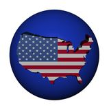 USA map flag on blue sphere Stock Images